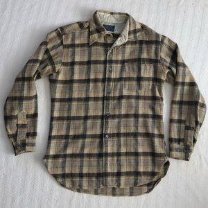 Vtg Pendleton Woolen Mills Brown Plaid Check Shirt